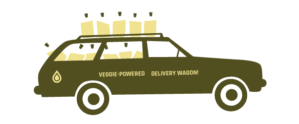 Illustration of Veggie-powered delivery wagon ©2017 Michael Kerwin